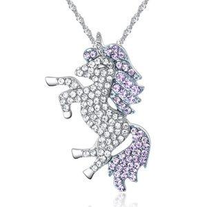 Beautiful Lavender Crystal Unicorn Necklace